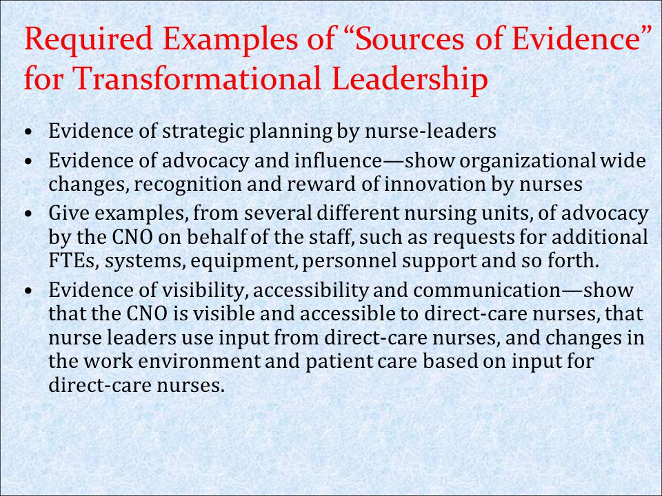 Required Examples of Sources of Evidence for Transformational Leadership