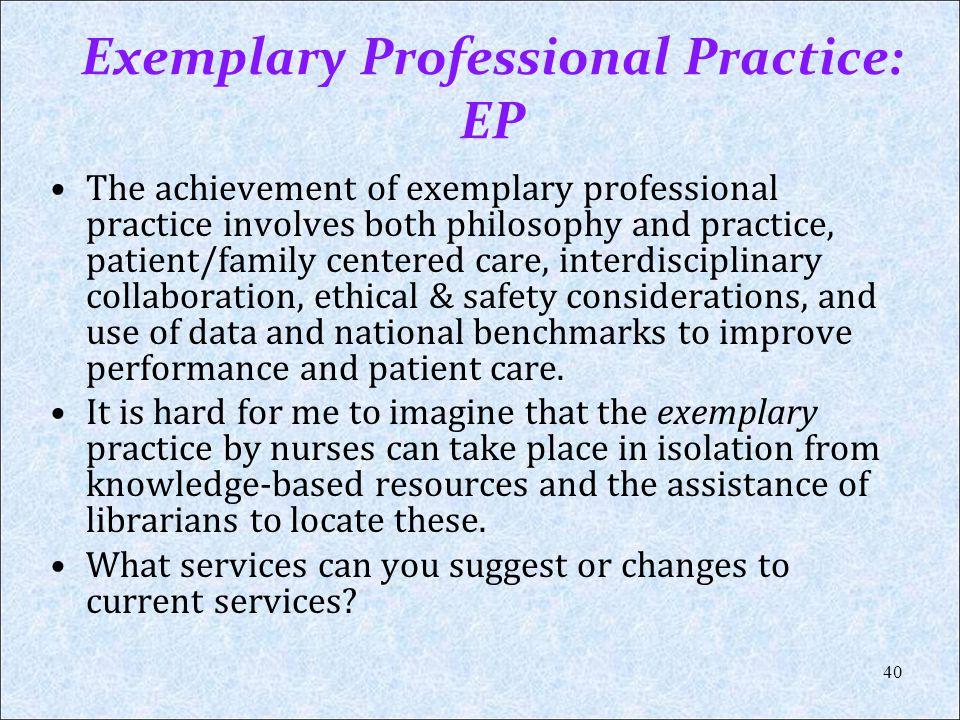 Exemplary Professional Practice: EP
