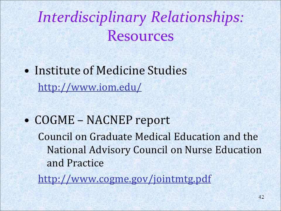 Interdisciplinary Relationships: Resources
