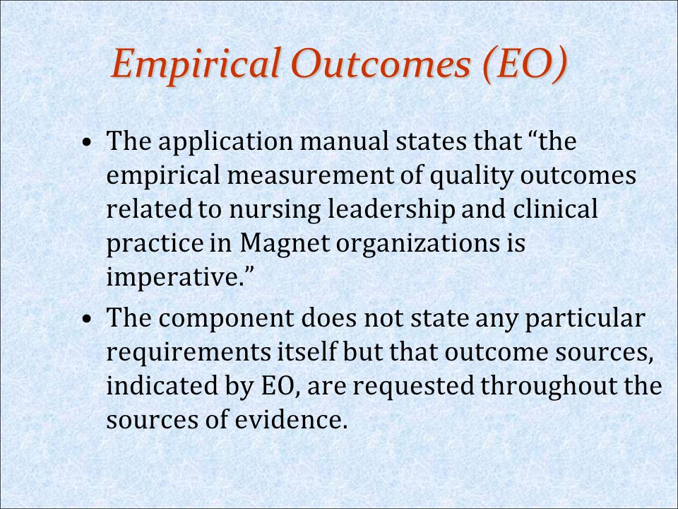 Empirical Outcomes (EO)