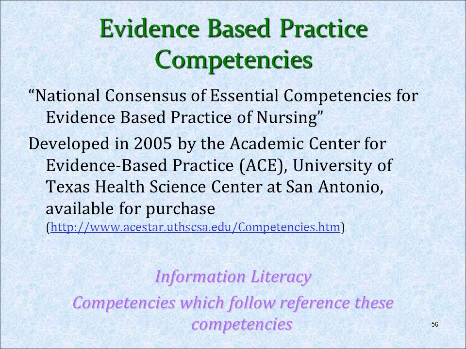 Evidence Based Practice Competencies