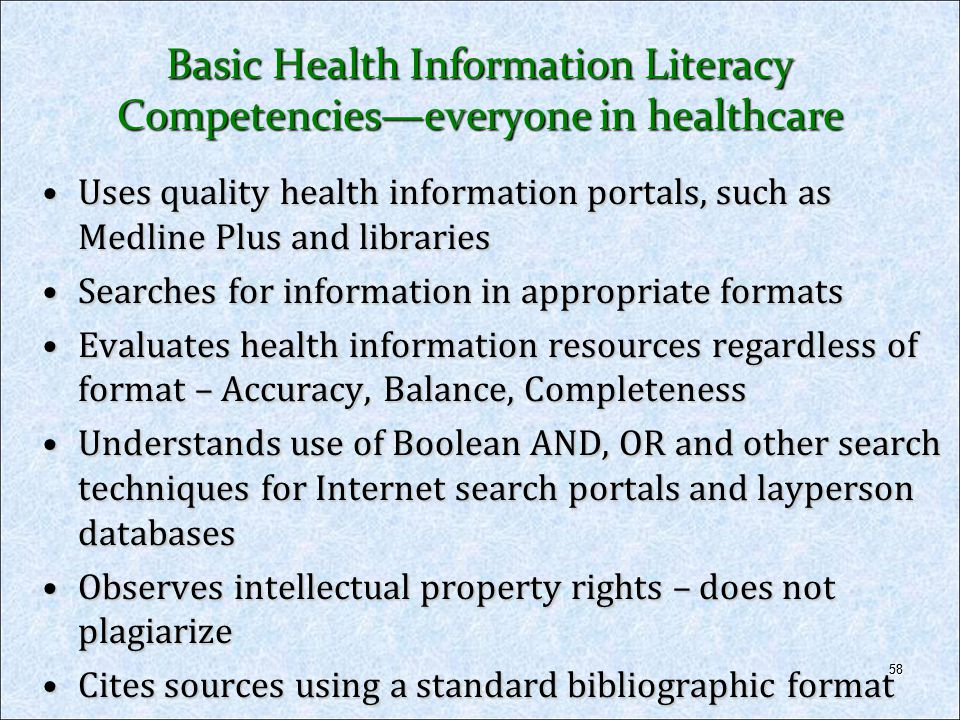Basic Health Information Literacy Competencies—everyone in healthcare