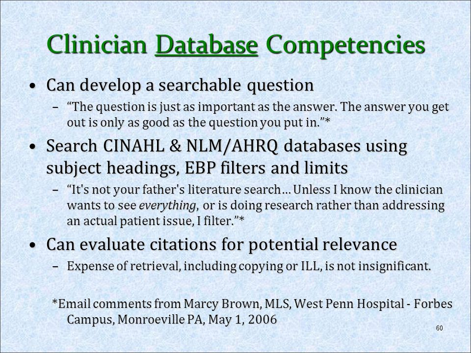 Clinician Database Competencies