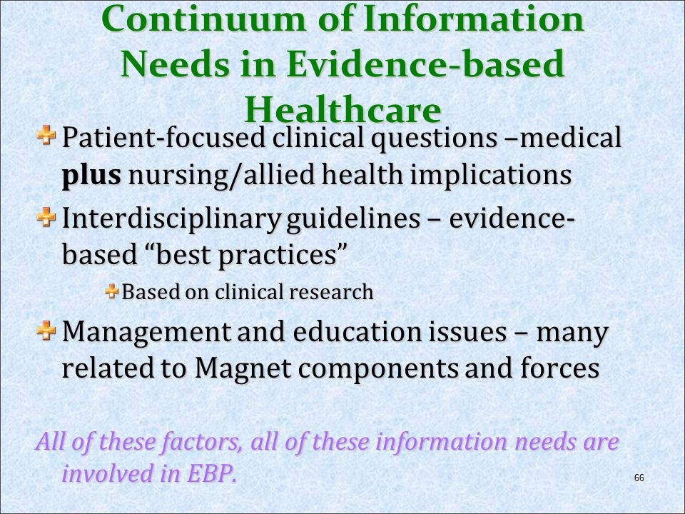 Continuum of Information Needs in Evidence-based Healthcare