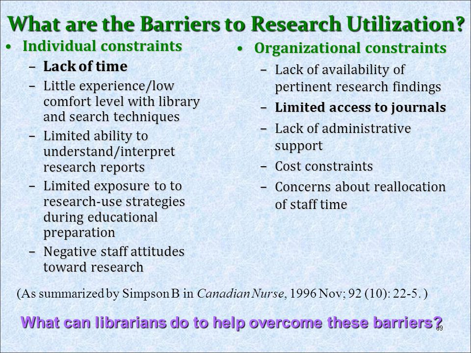 What are the Barriers to Research Utilization