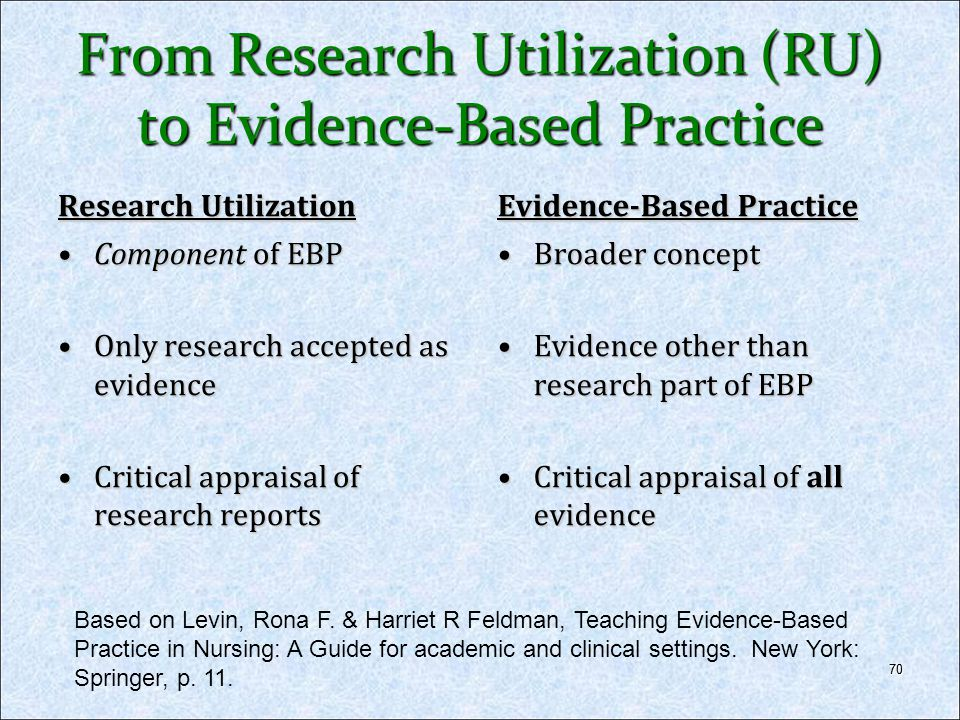From Research Utilization (RU) to Evidence-Based Practice