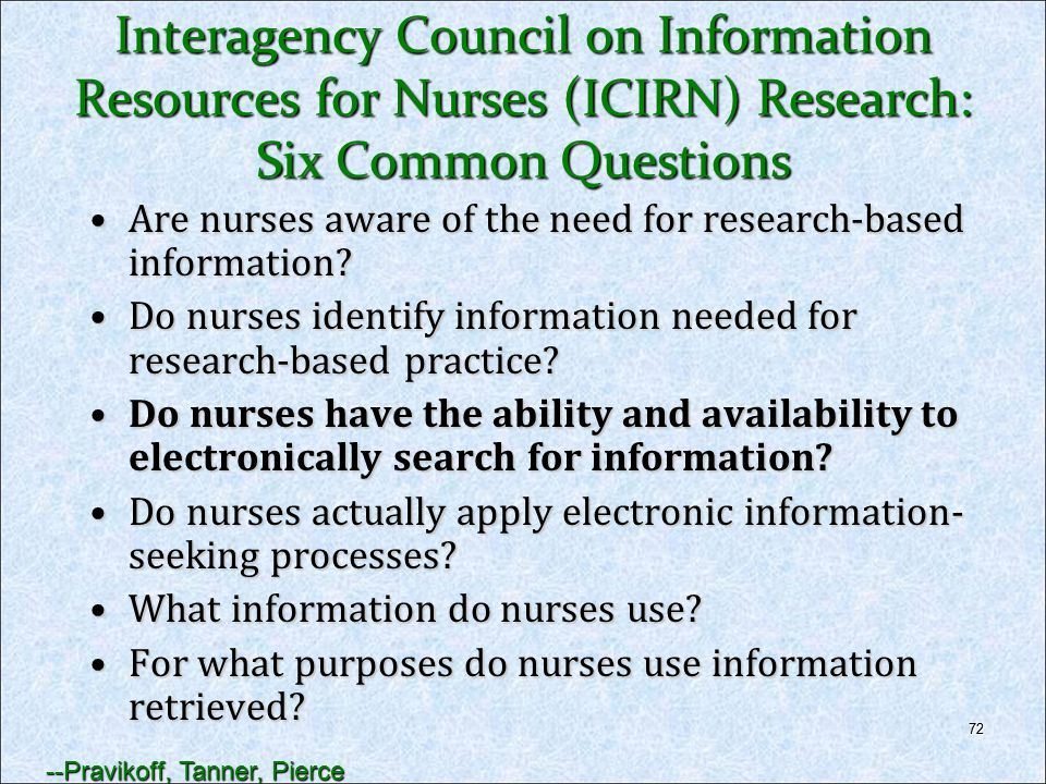Interagency Council on Information Resources for Nurses (ICIRN) Research: Six Common Questions