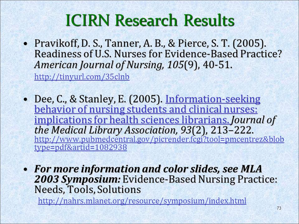 ICIRN Research Results
