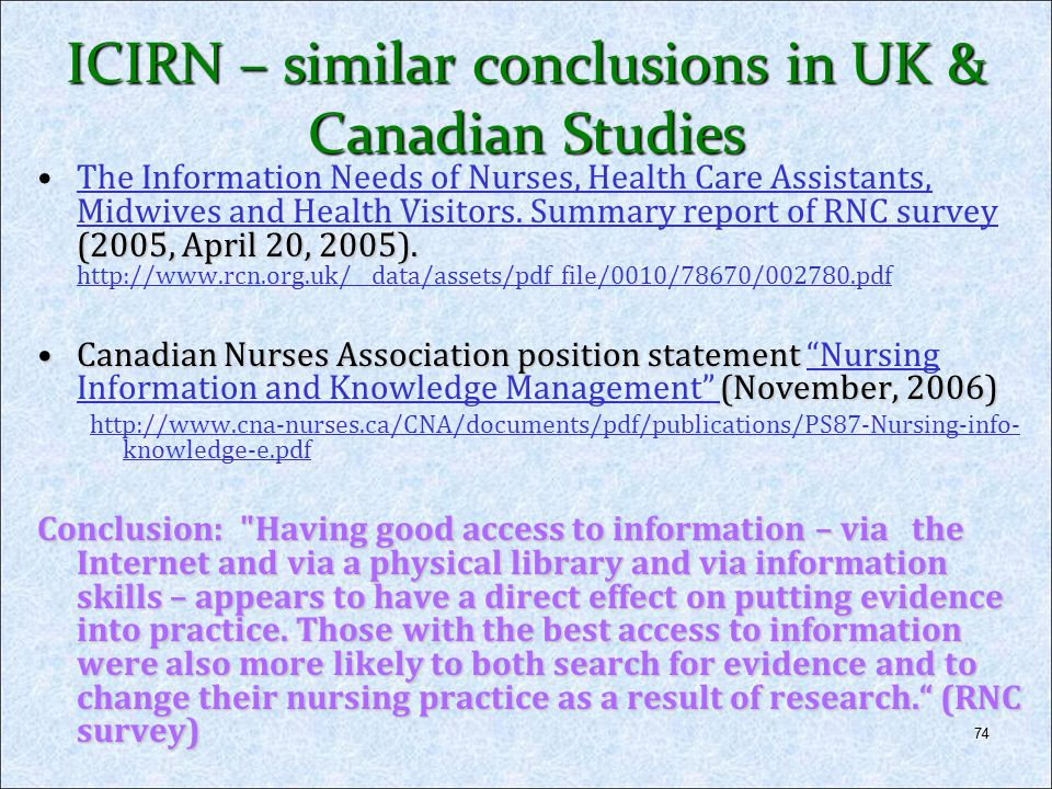 ICIRN – similar conclusions in UK & Canadian Studies