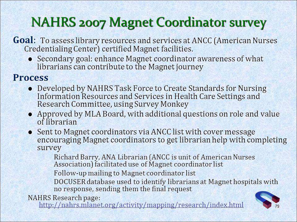 NAHRS 2007 Magnet Coordinator survey