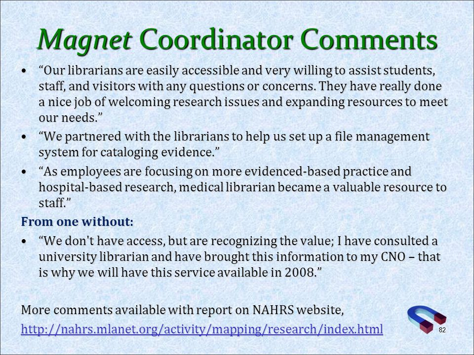 Magnet Coordinator Comments