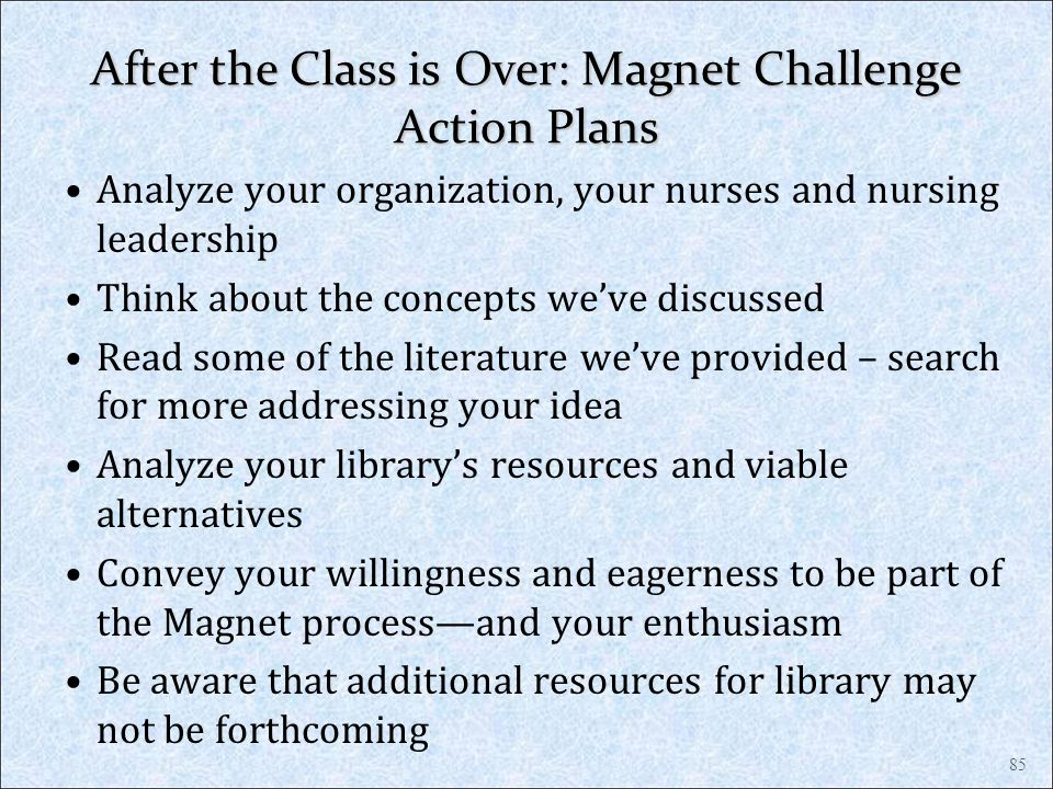 After the Class is Over: Magnet Challenge Action Plans