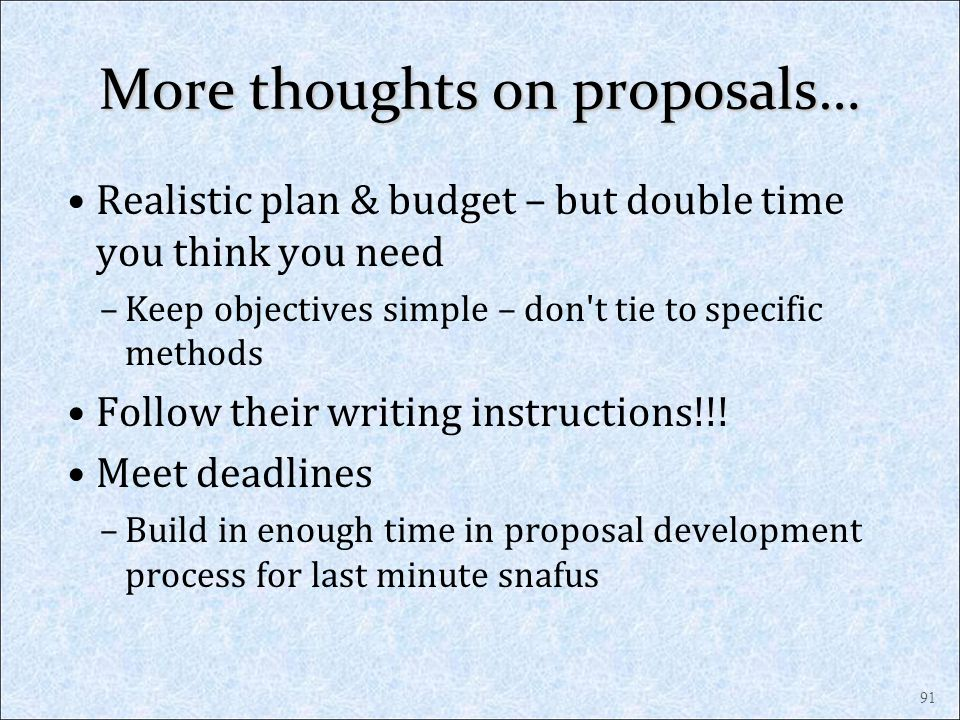 More thoughts on proposals…