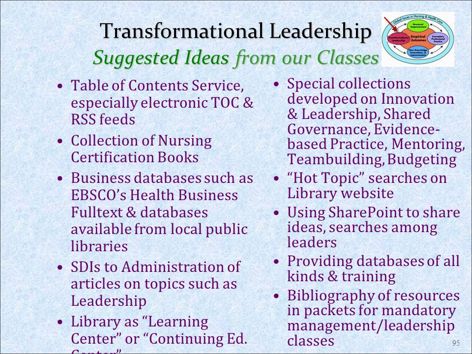 Transformational Leadership Suggested Ideas from our Classes