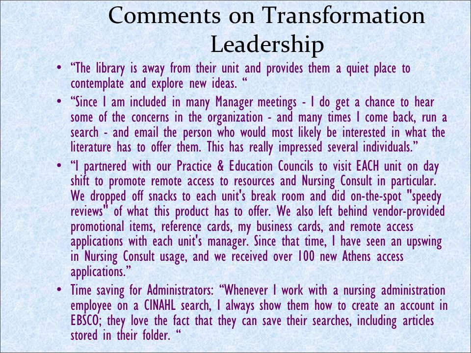 Comments on Transformation Leadership