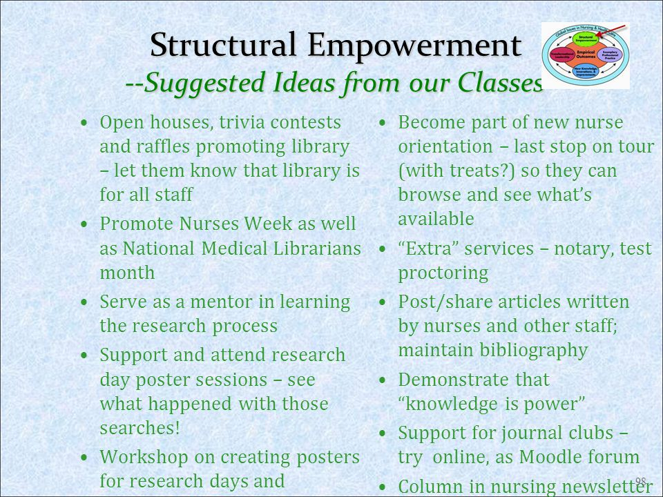 Structural Empowerment --Suggested Ideas from our Classes