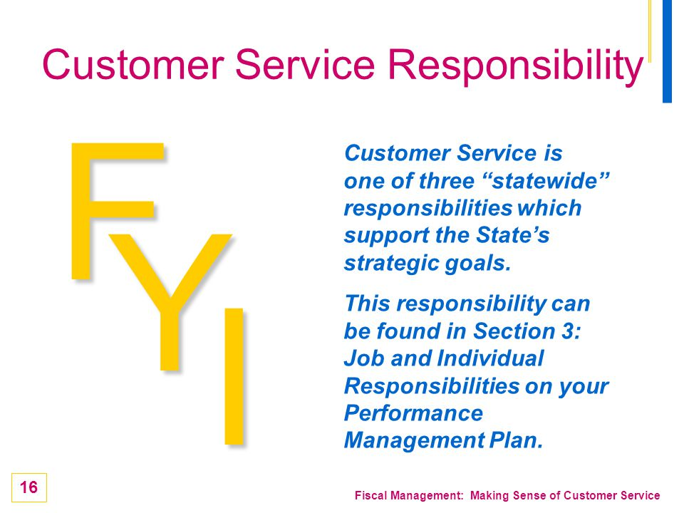 Customer Service Responsibility