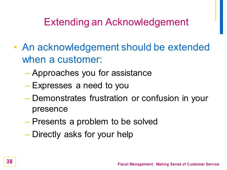 Extending an Acknowledgement