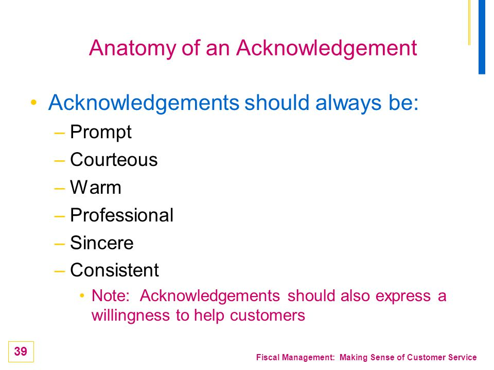 Anatomy of an Acknowledgement