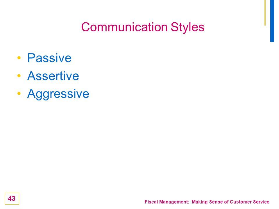 Communication Styles Passive Assertive Aggressive