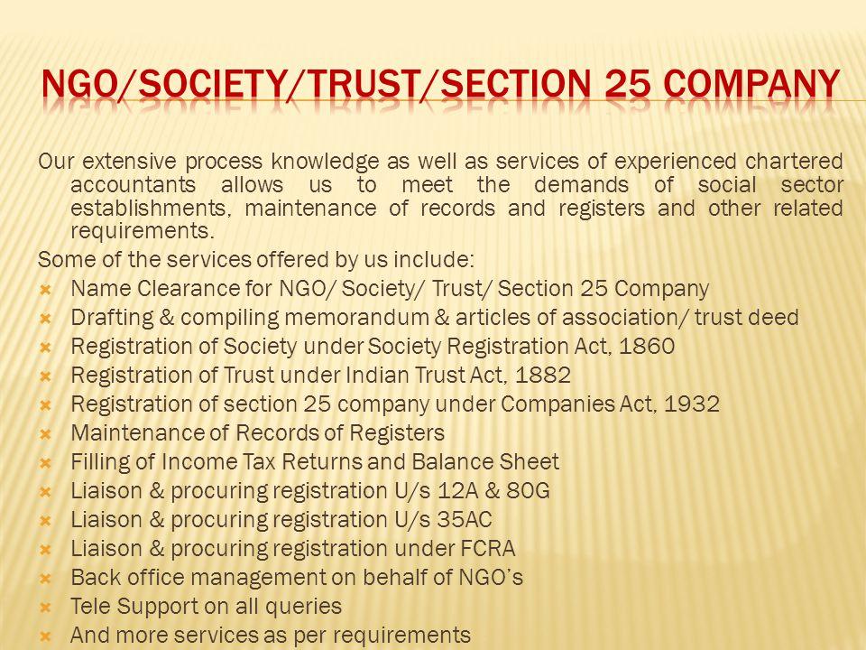 NGO/SOCIETY/TRUST/SECTION 25 COMPANY