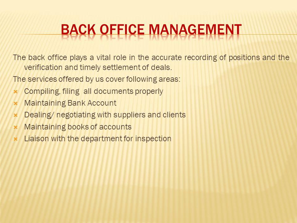 BACK OFFICE MANAGEMENT