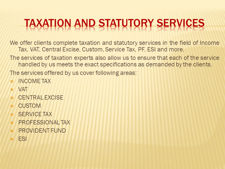 TAXATION AND STATUTORY SERVICES