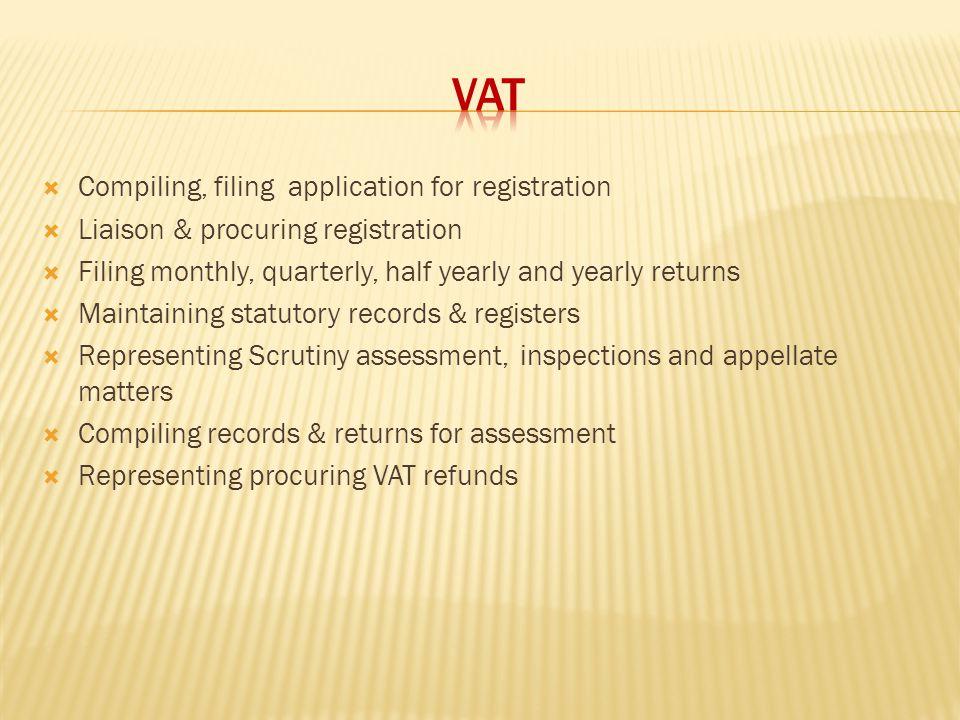 VAT Compiling, filing application for registration