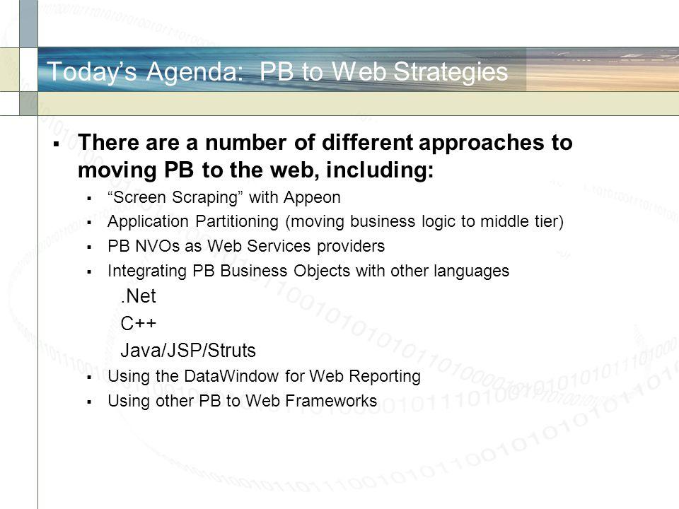 Today's Agenda: PB to Web Strategies