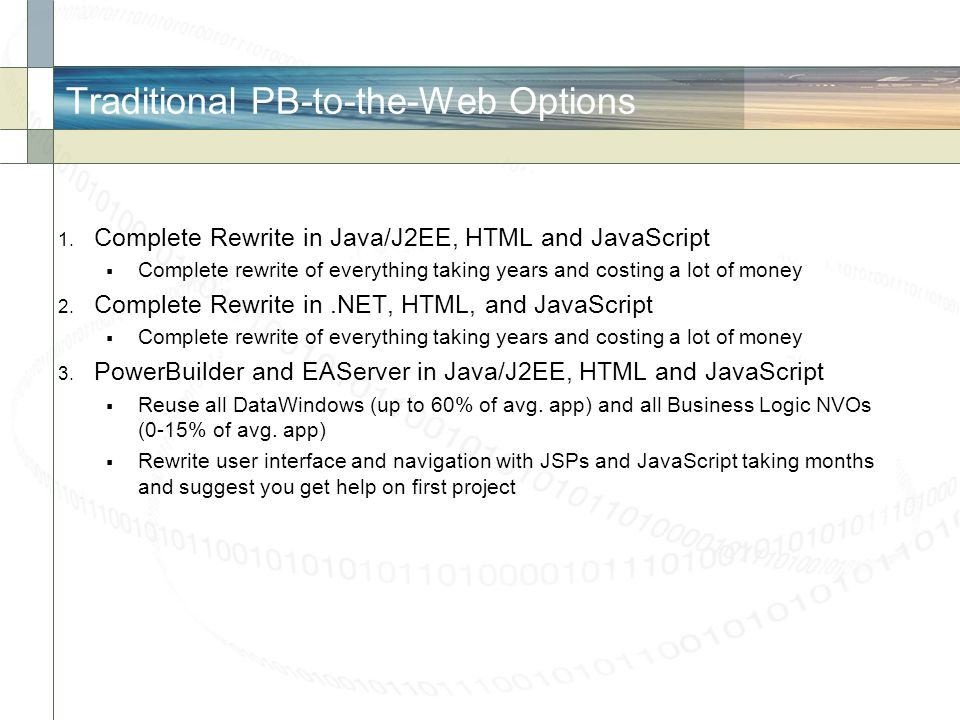 Traditional PB-to-the-Web Options