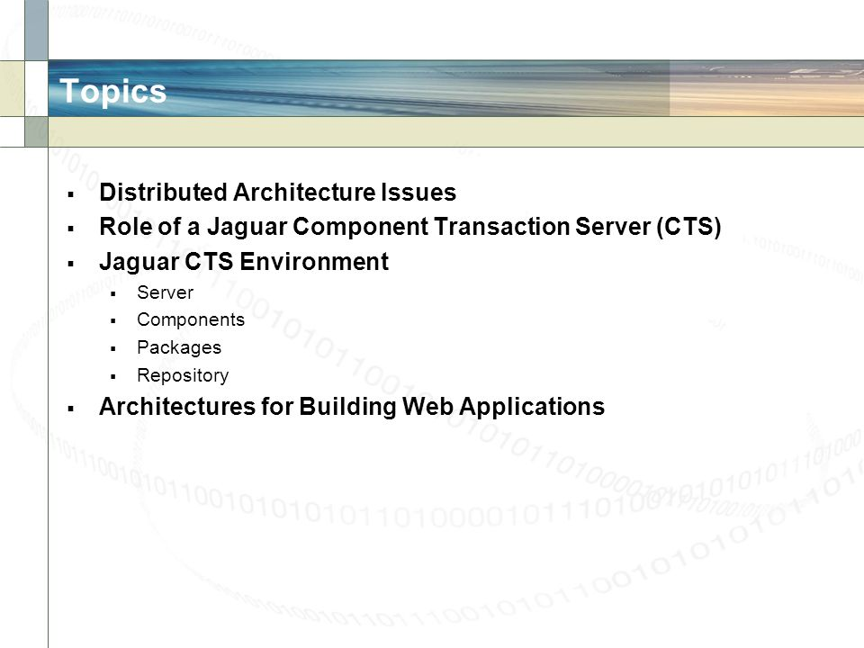 Topics Distributed Architecture Issues