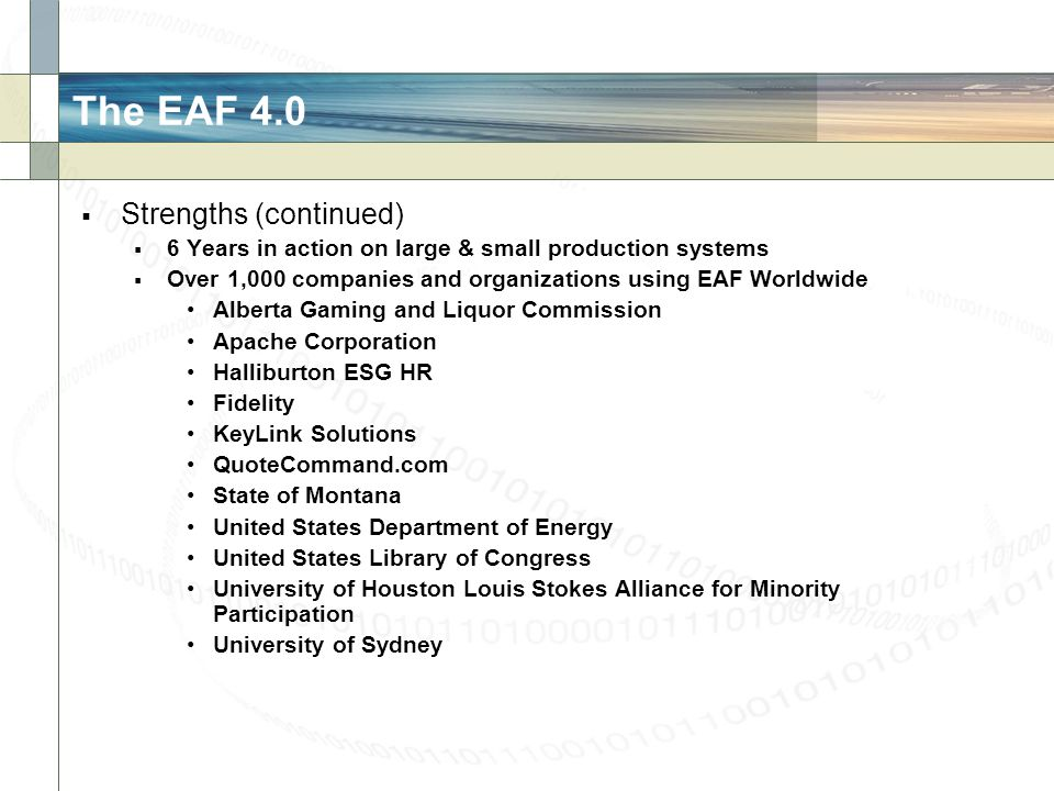 The EAF 4.0 Strengths (continued)
