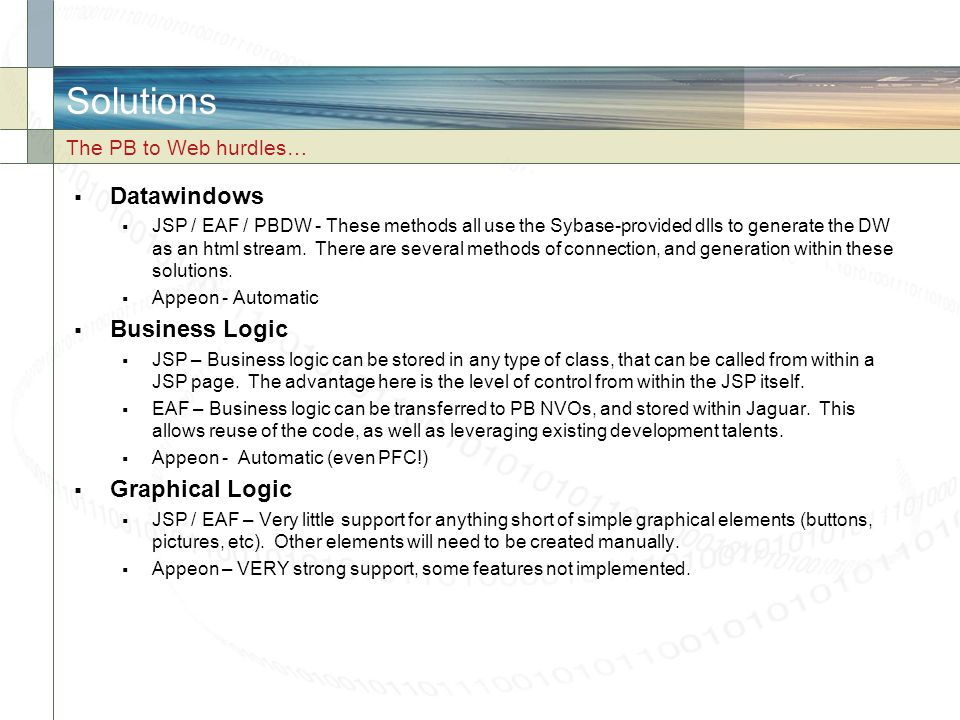 Solutions Datawindows Business Logic Graphical Logic