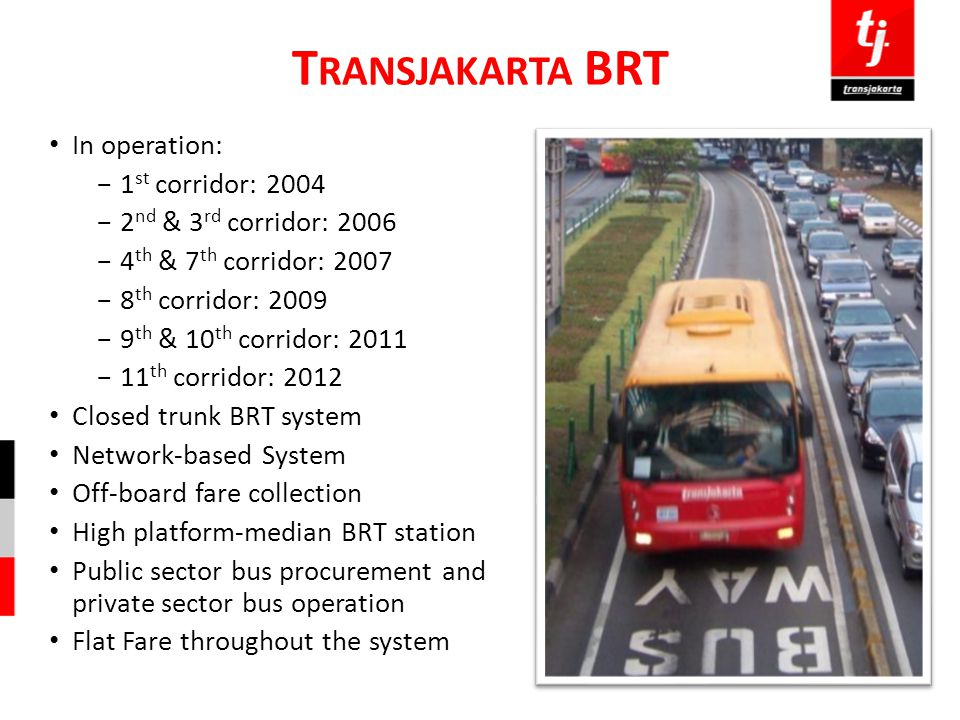 Transjakarta BRT In operation: 1st corridor: 2004