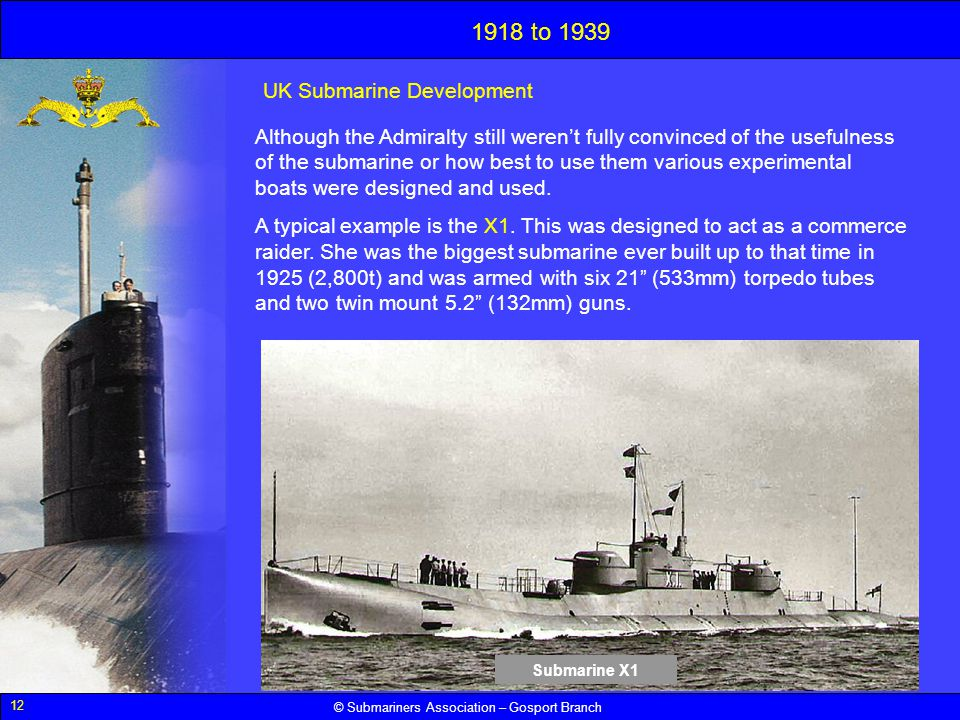 1918 to 1939 UK Submarine Development