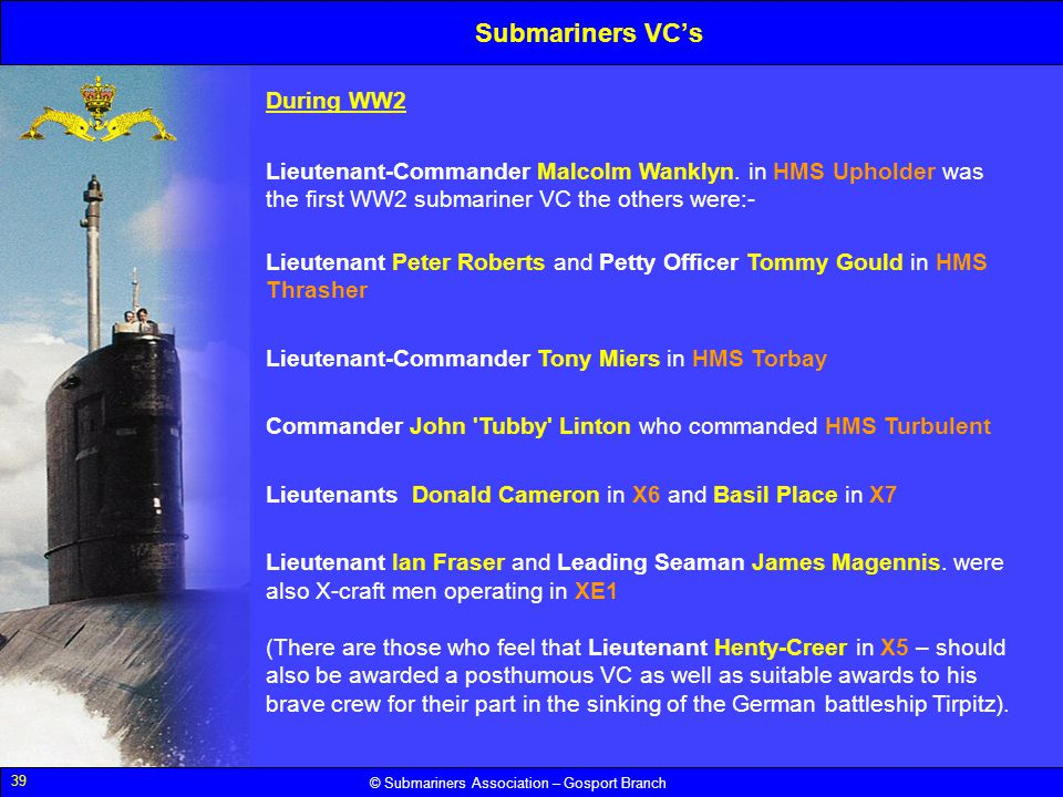 Submariners VC's During WW2