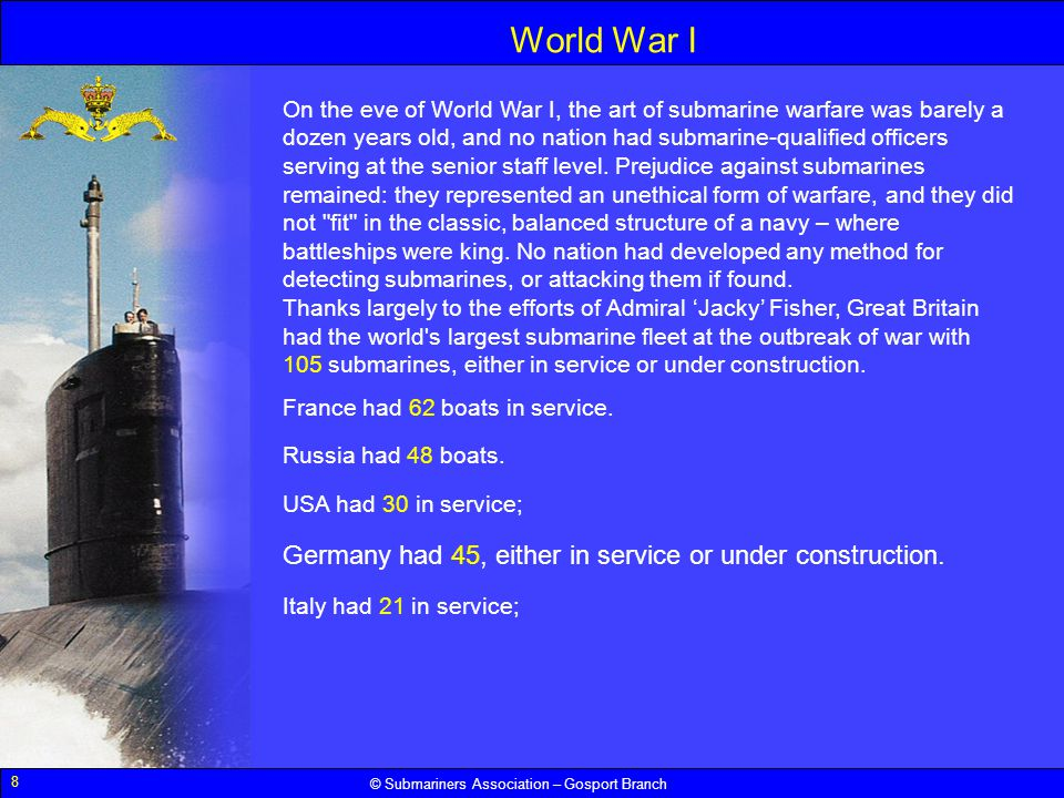 World War I Germany had 45, either in service or under construction.