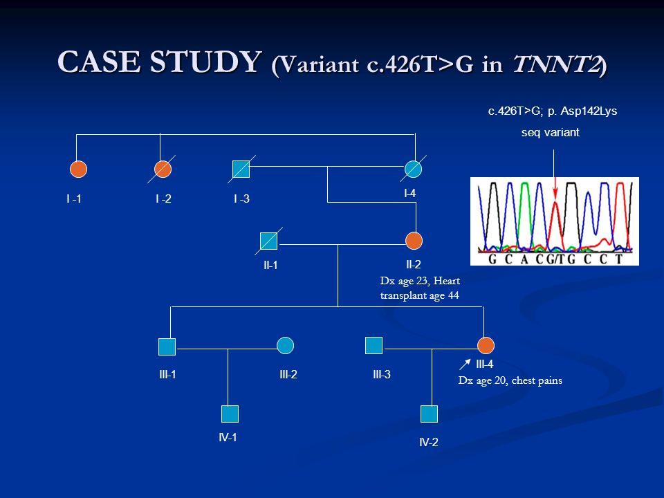 CASE STUDY (Variant c.426T>G in TNNT2)