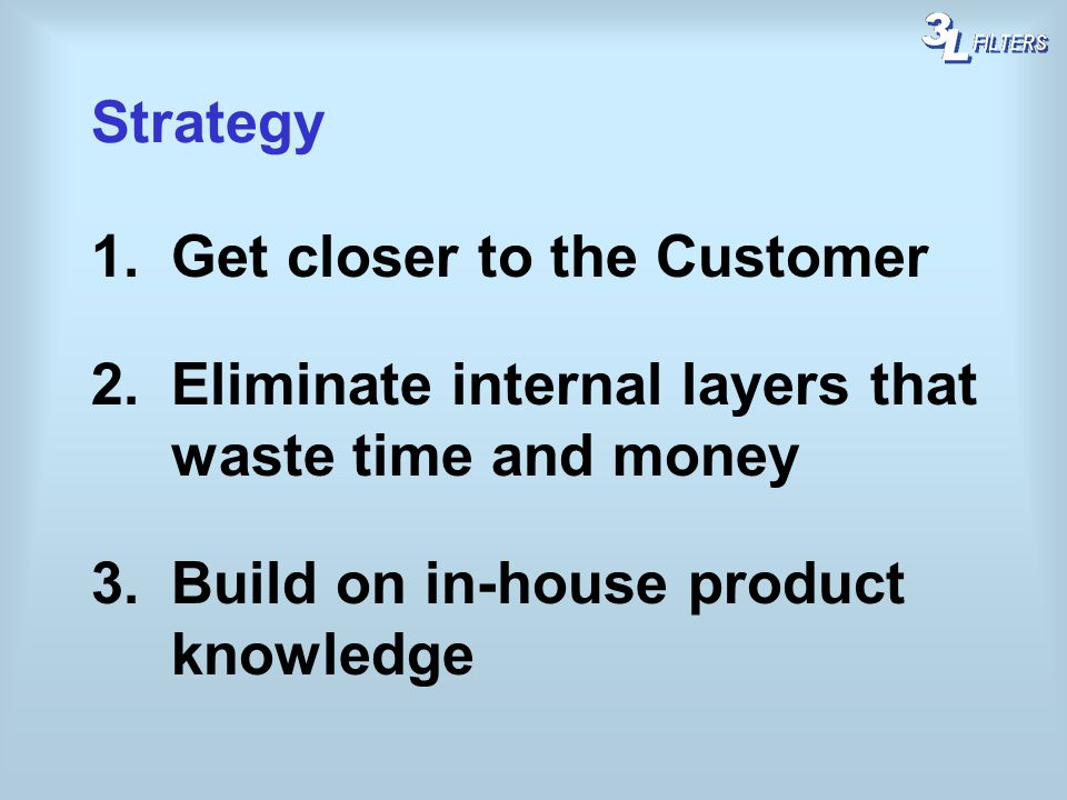 Strategy Get closer to the Customer. Eliminate internal layers that waste time and money.