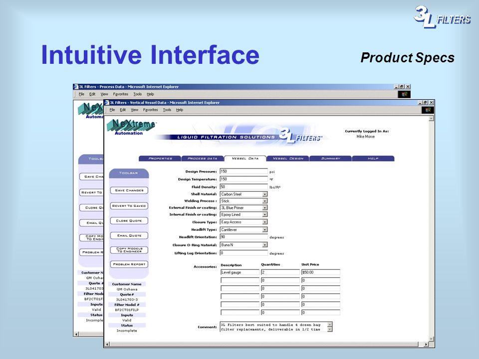 Intuitive Interface Product Specs