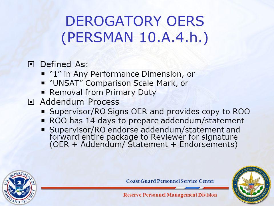 DEROGATORY OERS (PERSMAN 10.A.4.h.)