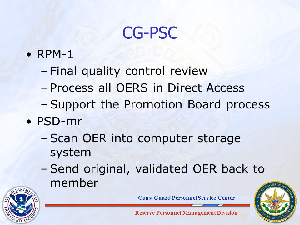CG-PSC RPM-1 Final quality control review