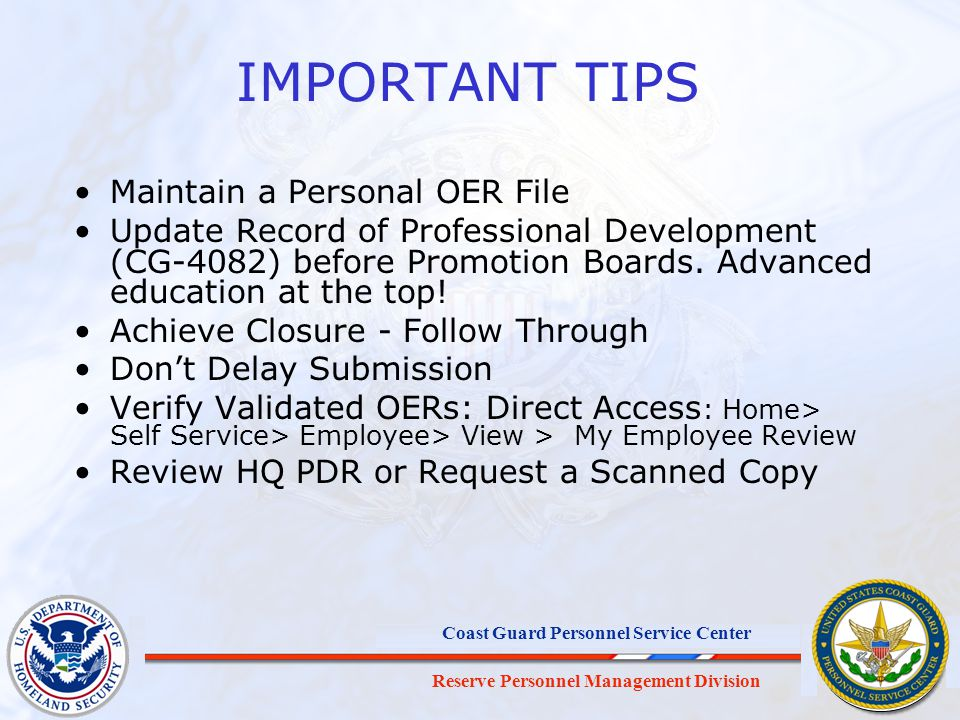 IMPORTANT TIPS Maintain a Personal OER File