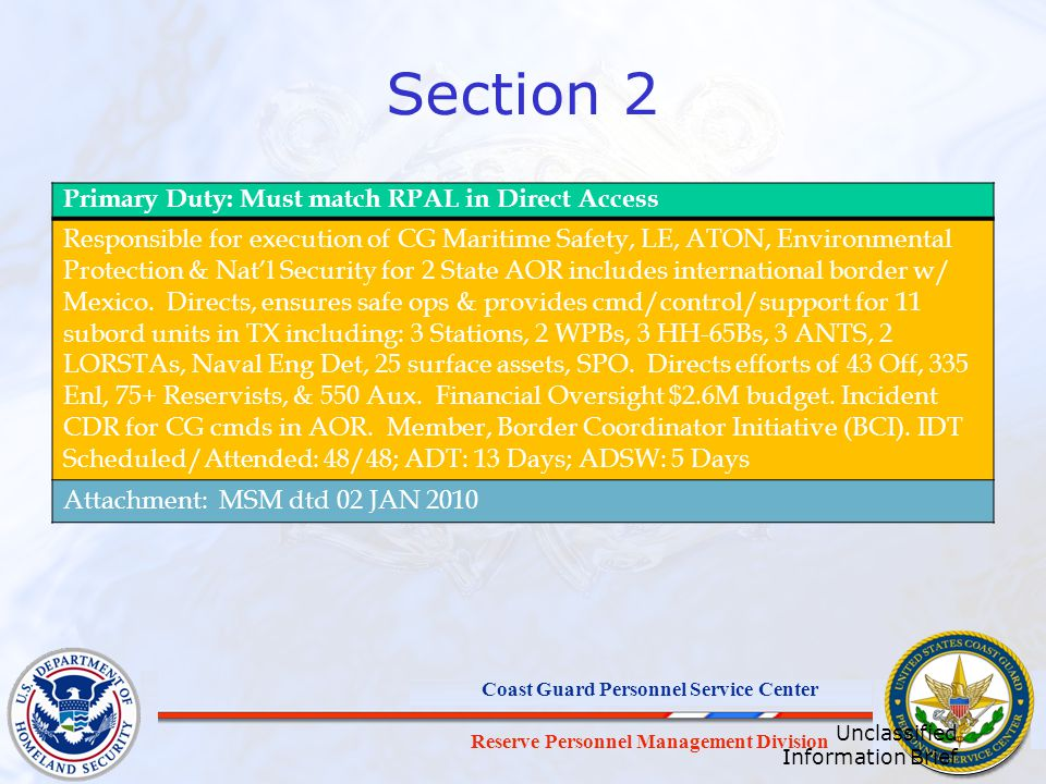 Section 2 Primary Duty: Must match RPAL in Direct Access