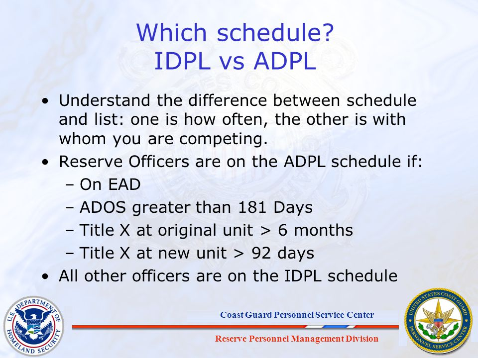 Which schedule IDPL vs ADPL