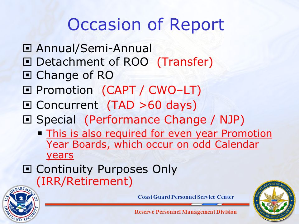 Occasion of Report Annual/Semi-Annual Detachment of ROO (Transfer)