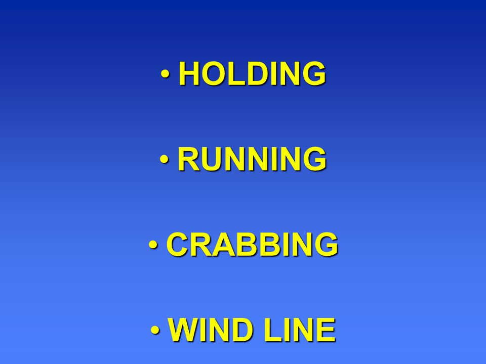 HOLDING RUNNING CRABBING WIND LINE