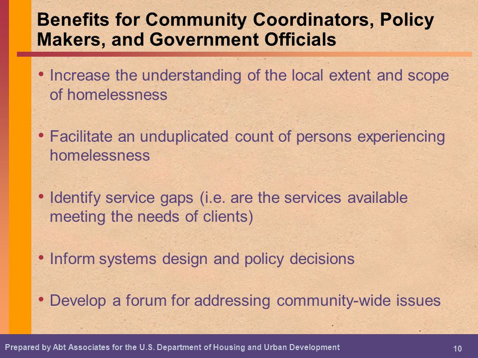 Benefits for Community Coordinators, Policy Makers, and Government Officials