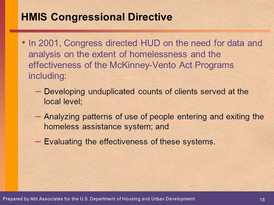 HMIS Congressional Directive