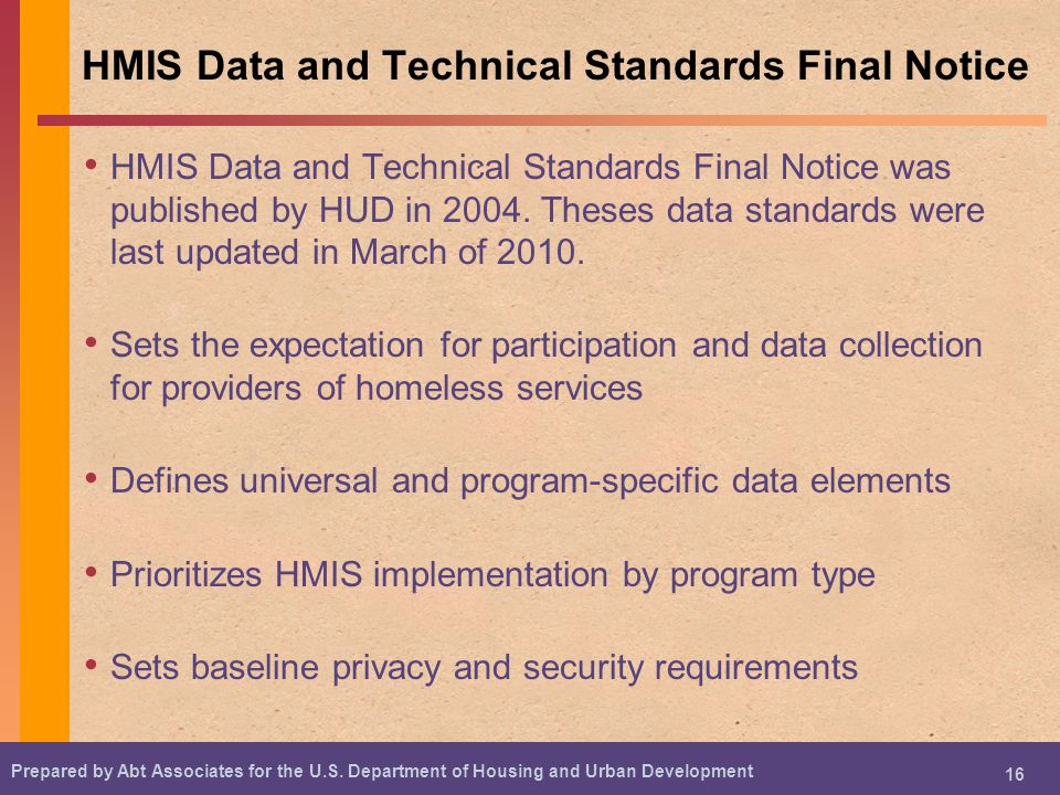 HMIS Data and Technical Standards Final Notice